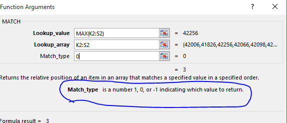 Excel 2016 Help for Match Function Match_Type Argument